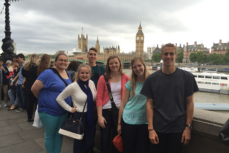 IUPUI Students in London with Big Ben in the background