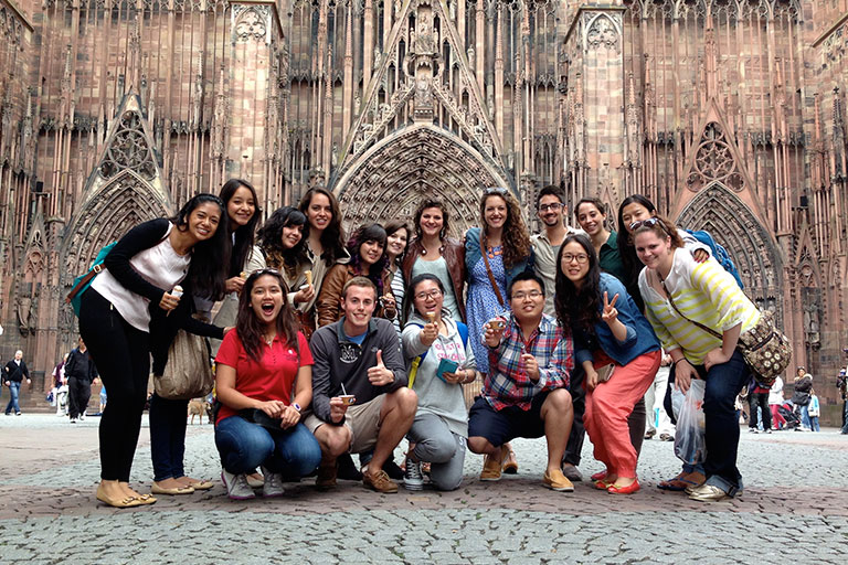 Group of IUPUI students in Spain